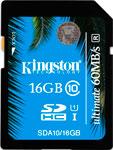 Карта памяти  Kingston  SDHC 16 Gb Class 10 Kingston SDA 10/16 GB UHS-I 60/35