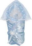 Конверт  Маргарита  Из атласа с накидкой, кружево органза, весна-осень, синтепон,пл. 200 (голубой)