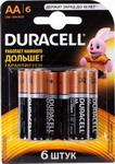 Батарейка, аккумулятор и зарядное устройство  Duracell  LR6/MN 1500-6BL BASIC AA