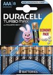 Батарейка, аккумулятор и зарядное устройство  Duracell  LR 03/MX 2400-8BL Turbo Max AAA (6+2)