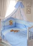 Комплект постельного белья  Золотой Гусь  Мишка-Царь 8 пр., простыня на резинке мальчик голубой