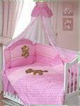 Комплект постельного белья  Золотой Гусь  Мишка-Царь 8 пр., простыня на резинке девочка розовый
