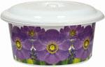 Ведро  Виолет  с декором Фиалка (бел), круглый с крышкой 10л. 0710/890