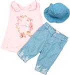 Детский трикотаж  Bebetto  шорты, футболка, панама, Рт.86, Розовый