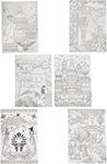 Товар для творчества  Bondibon  Набор раскрасок антистресс Достопримечательности мира, 6 листов 30х21 см ВВ1714