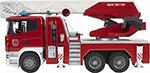 Bruder  Bruder  Scania с выдвижной лестницей и помпой с модулем со световыми и звуковыми эффектами 03-590