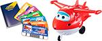 Интерактивная и развивающая игрушка  Super Wings  с пластиковыми карточками разных стран, свет, звук