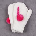 Варежки и перчатки  Hobby Line  MARGOT BIS ``Itaka`` двойные с помпоном д/д, р.10 белые
