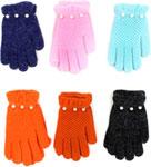 Варежки и перчатки  Hobby Line  ``Жемчужинка`` с бусинками, однослойные Голубой