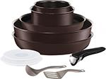 Набор посуды со съемной ручкой  Tefal  L 6559802 Ingenio Chefs из 10 предметов: ковши 16/18см, сковороды 22/26см, вок 26см