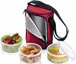 Сумка-холодильник  Tescoma  FRESHBOX, с 3 емкостями 0,8 л, бордовый 892210