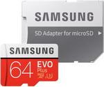 Карта памяти  Samsung  64 GB MicroSDXC class 10 UHS-I EVO+ MB-MC 64 GA/RU