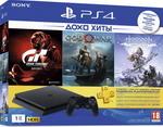 Игровая приставка  Sony  PlayStation 4 1TB Black + Gran Turismo Sport, Horizon Zero Dawn CE и GOW, подписка PS+ на 3 месяца