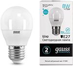 Лампа  GAUSS  LED Elementary Шар 8W E27 540lm 4100K 1/10/100 53228