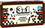 Настольная развивающая и обучающая игра  1 Toy  шашки, шахматы, нарды магнитные 13,5х7,5х2см Т12057
