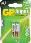 Батарейка, аккумулятор и зарядное устройство  GP  24A(LR03) 2 штуки Super Alkaline AAA