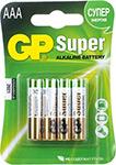 Батарейка, аккумулятор и зарядное устройство  GP  24A(LR03) 4 штуки Super Alkaline AAA