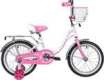 Велосипед детский  Novatrack  14`` BUTTERFLY белый-розовый, тормоз нож, крылья и багаж хром, корз, полн защ.цепи