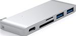 Разветвитель USB  Satechi  Type-C USB 3.0 Passthrough Hub для Macbook 12``, серебристый (ST-TCUPS)