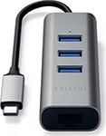 Разветвитель USB  Satechi  Aluminum 3 Port Hub and Ethernet Port, серый космос (ST-TC2N1USB31AM)