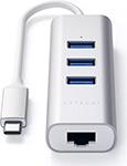 Разветвитель USB  Satechi  Aluminum 3 Port Hub and Ethernet Port, серебристый (ST-TC2N1USB31AS)