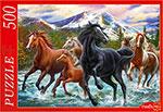 Настольная развивающая и обучающая игра  Рыжий кот  500 элементов. ТАБУН ДИКИХ ЛОШАДЕЙ Х500-2187