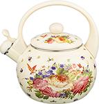 Чайник  Agness  эмалированный со свистком, 2,2л, индукционное дно, бежевый, 915-107