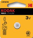 Батарейка, аккумулятор и зарядное устройство  KODAK  CR1616-1BL