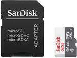Карта памяти  Sandisk  Ultra 64ГБ microSDXC C10 UHS-I 100МБ/с SDадаптер (SDSQUNR-064G-GN3MA)